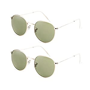 Stylle Round Unisex Sunglasses - Gold Metal Frame with Green Lens - 2 PACK