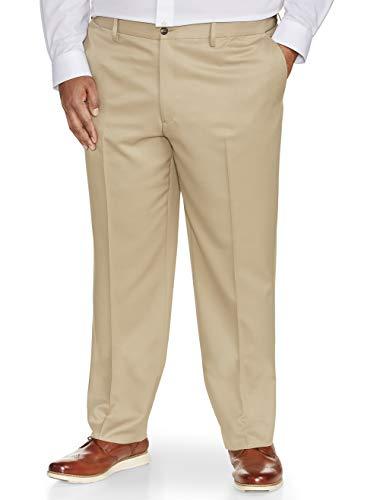 Amazon Essentials Men's Big & Tall Classic-Fit Wrinkle-Resistant Flat-Front Dress Pant, Khaki, 48W x 32L (32l Khaki)