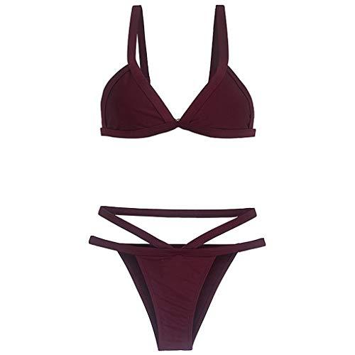 LONGDAY Women Push Up Bikini Set String Bra 2Pcs Padded Sexy Swimsuit Low Waist Bottom Strappy Triangle Swim Top Wine