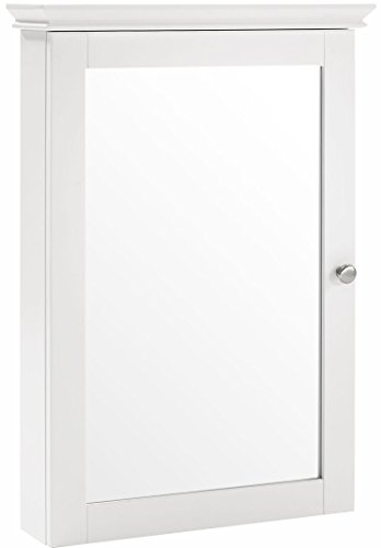 Crosley Furniture Lydia Mirrored Bathroom Wall Cabinet - White (Mirrored Traditional Cabinet)
