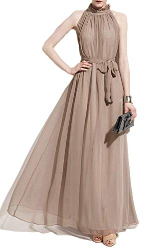 VSVO Women Halter Neck Sleeveless Chiffon Maxi Dresses (XX-Large, Beige)