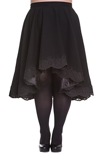 Hell Bunny Plus Victorian Punk Rockabilly Black Lace Trimmed Full Circle Skirt (4XL)