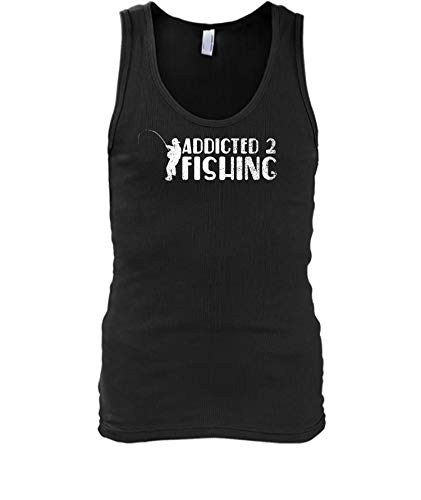 TheOceanPub Designs Fishing Shirt for Men Women - Addicted to Fishing Tank top XL