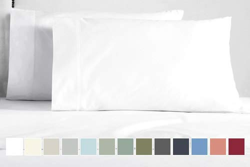 "- Pizuna 400 Thread Count Queen Pillowcases, 100% Long Staple Cotton Satin White Pillowcases Set of 2, Standard Pillow Cases with Stylish 4"" Hem (100% Cotton Pillow Covers Queen White)"