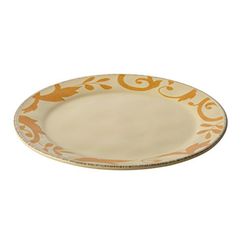 (Rachael Ray Dinnerware Gold Scroll 12.5-Inch Round Platter, Almond Cream)