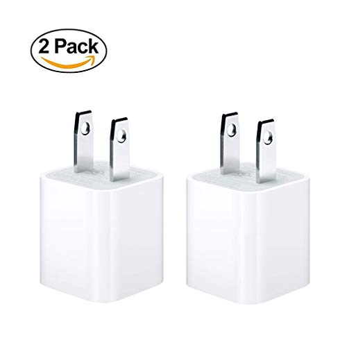 ByCallMax 2Pack 5W USB Power Adapter [Original Certified] Wall Charger Adapter Cube Compatible All iPhone, iPod and iPad, AC 100-240 Volts,50/60Hertz(HZ),DC 5V/1A
