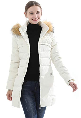 Obosoyo Women's Hooded Thickened Long Down Jacket Winter Down Parka Puffer Jacket White L