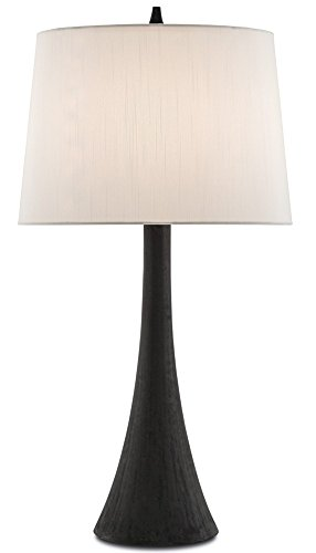Column Table Lamp - Vertex Hand-Applied Black Sloping Tapered Column Table Lamp