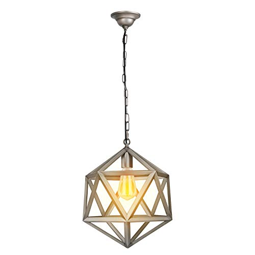 (Paragon Home Geometric Pendant Light Fixture for Kitchen and Dining Room, Polygon Industrial Lighting Fixture, Foyer Chandelier, E26 Base, Antique Nickel (Bulb Not Included))