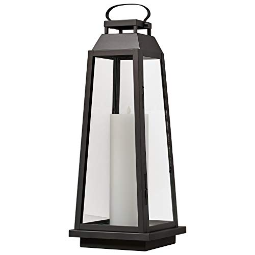 - Stone & Beam Modern Traditional Decorative Metal and Glass Table Lantern with LED Candle Light - 9 x 9 x 25 Inches, Black, For Indoor Outdoor Use