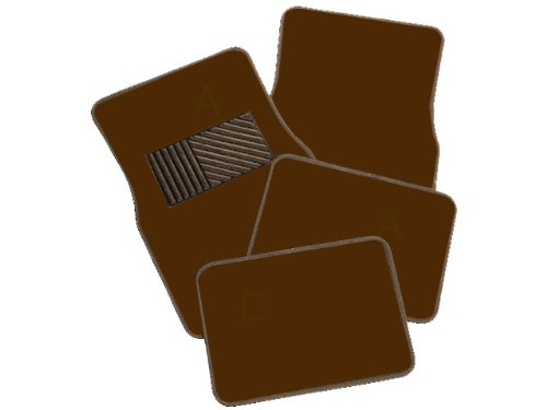 A Set of 4 Universal Fit Plush Carpet Floor Mats for Cars - Chocolate ()