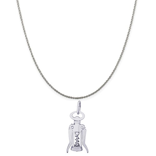 Rembrandt Charms 14K White Gold Corkscrew Charm on a 14K White Gold Rope Chain Necklace, 20""