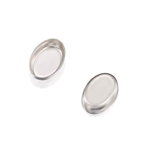 Oval Setting 925 Sterling Silver 4 x 6 mm Bezel Cup Findings for Ring Pendants Earrings, 12 - Oval Setting Ring 6mm