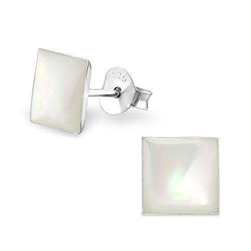 925 Sterling Silver White Square Mother of Pearl Seashell Stud Earrings (White Mother Of Pearl Seashell)