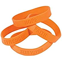 25 ORANGE SILICONE AWARENESS BRACELETS - KIDNEY, LEUKEMIA, MULTIPLE SCLEROSIS