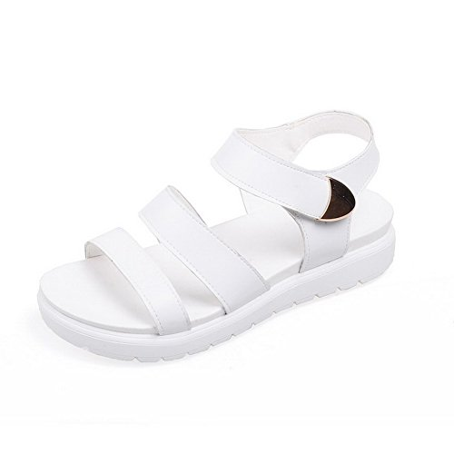 AgooLar Women's Solid Pu Low Heels Open Toe Hook And Loop Sandals White mtXmK6t6