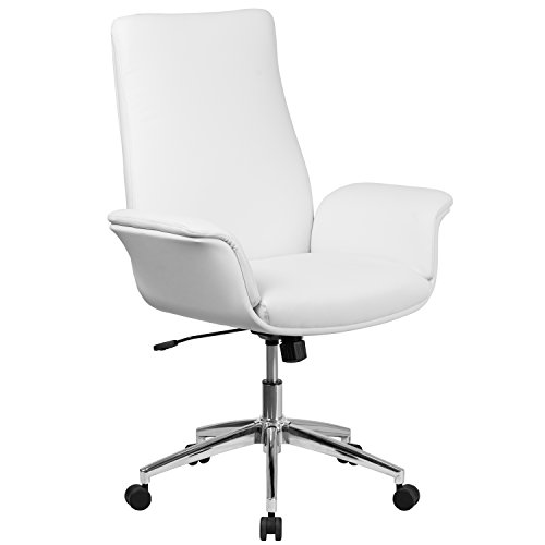 Swivel Mid Contemporary Back (Flash Furniture Mid-Back White Leather Executive Swivel Chair with Flared Arms)
