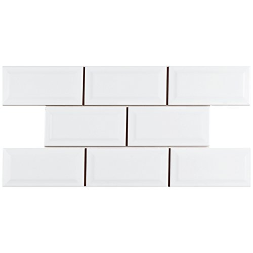 SomerTile WXR3PSBW Pente Subway Beveled Ceramic Wall Tile, 3'' x 6'', Glossy White by SOMERTILE