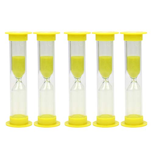 JETEHO 5Pcs 3 Minute Sand Timer with Yellow Sand, Sand Clock Timer for Children, Playing, Games, Exercising, Party Favor]()