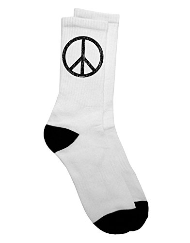 TooLoud Peace Sign Symbol - Distressed Adult Crew Socks Mens sz. 9-13 (70s Outfits For Men)