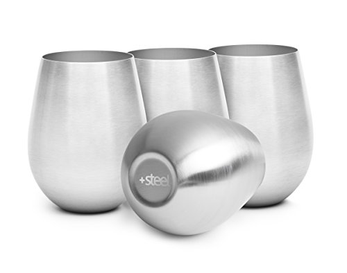 +Steel Stainless Steel Stemless Wine Glasses, Set of 4, 16oz, Unbreakable 18/8 Stainless Steel, Dishwasher Safe Shatterproof BPA Free Great for Outdoors, Picnics & Camping