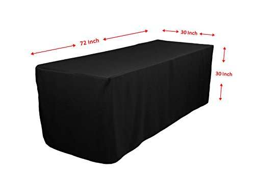 Spring Rose(TM) 6 Feet Fitted Commercial Grade Heavy Duty Black Polyester Tablecloth. Perfect For Any Occasion Including A Wedding. (Tablecloth 6' Fitted Polyester)