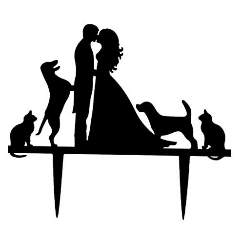 Mikash Wedding Cake Toppers Bride and Groom with Dogs and Cats Animal Silhouette Wedding Engagement Tion | 5.3X 6.1 | Model WDDNG - - Wedding Bingo Bell