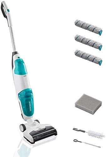 Opinión sobre Leifheit Aspiradora sin cables Limpiasuelos Regulus Aqua PowerVac, sin bolsa para aspirar y fregar con 22 minutos de batería, de 24V, con rodillos de limpieza, filtro de espuma y cepillos de limpieza