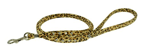 Leopard Leash - Evans Collars Jeweled Flat Lead, 4', Animal Prints, Leopard