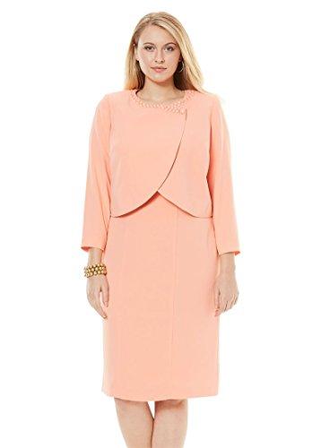 Jessica London Women's Plus Size Beaded Bolero Jacket Dress Soft Peach,16 ()