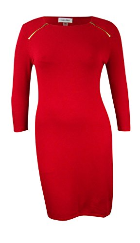 Dress Zip Red Large Sweater Calvin Women's Klein Shoulder qOvTvS