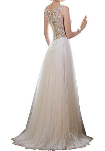 Milano Bride Anmutig V-Ausschnitt Spaghetti Hochzeitskleider Brautkleider Strass Tuell A-Linie Brautmode Damen