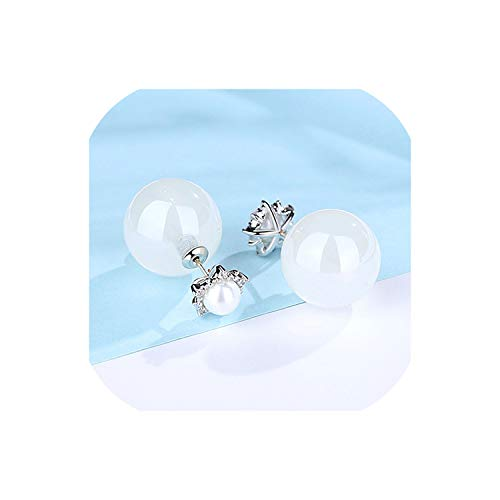 FAT BIG CAT Imitation Pearl Stud Earrings For Women Charming Sparkling CZ Crystal Jellylike Color Fashion Jewelry Girlfriend Gifts,White Gold White