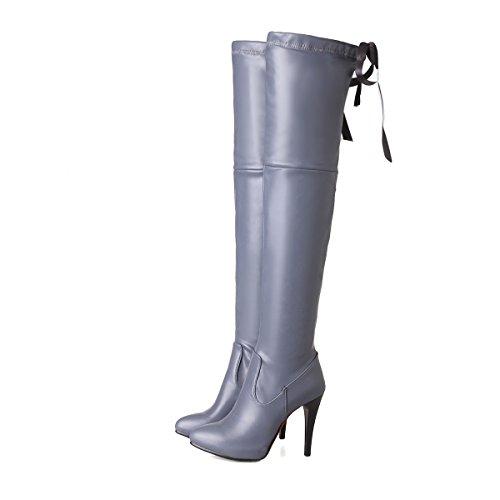 YE Damen Overkneestiefel Stiletto Spitze High Heels Plateau mit Reißverschluss und Schnürung 10cm Absatz Elegant Schuhe Grau