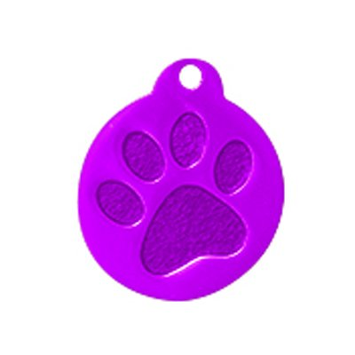 GoScribe 100 Premium Round w/Paw Pet Tags Blank - Anodized Aluminum (Small, Purple) by GoScribe