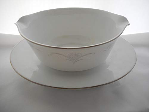 Noritake China Gravy Boat - Noritake 6842 Casablanca Gravy Boat with Tray Fine China