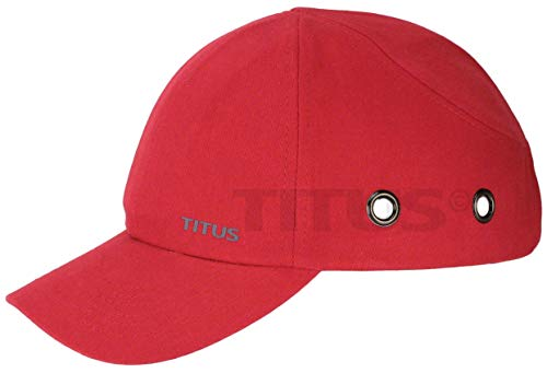Titus Lightweight Safety Bump Cap - Baseball Style Protective Hat (Red)