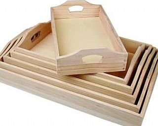 Juego de 6 bandejas de madera para decorar de | Formas de madera para manualidades