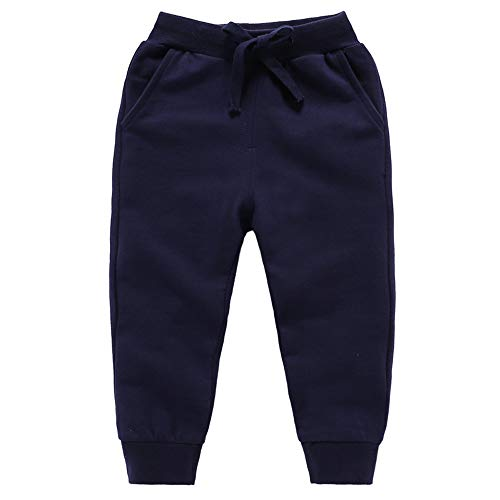 Astellarie Toddler Baby Boy Girl Active Elastic Waist Sport Cotton Jogger Sweatpants with Drawstring in Basic Color 2-9Years