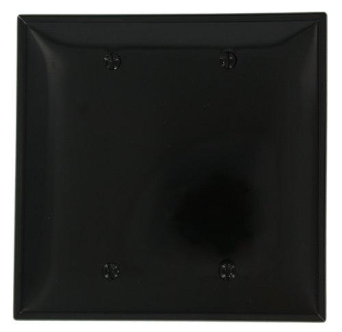 Leviton PJ23-E 2-Gang No Blank Wallplate, Midway Size, Black