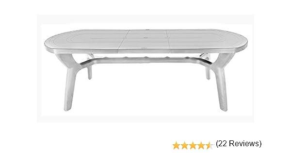 Mesa de jardín extensible de plástico/resina, 180/230 cm, Bianco: Amazon.es: Jardín