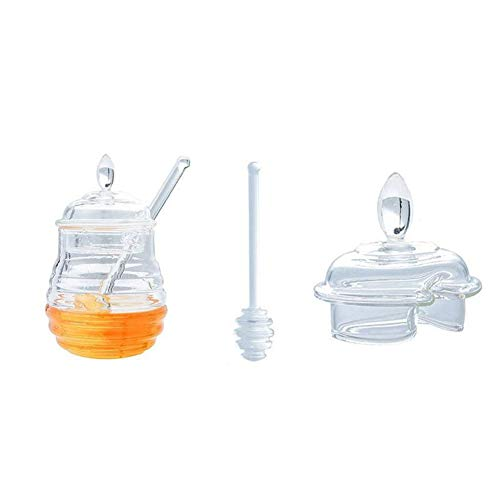 Brave669 Hot Sale 245ML Honey Juice Syrup Jam Transparent Pot Bottle Storage Jar with Stirring -