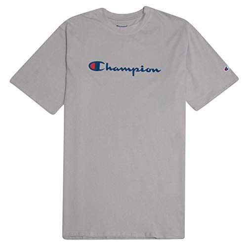 - Champion Men's Classic Jersey Script T-Shirt Concrete XL Tall