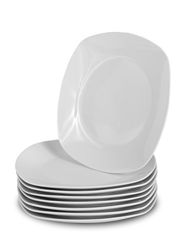 Klikel 8 White Salad Plates | Porcelain Square Dinnerware | 8.3 Inch Classic Solid Bread or Appetizer Coupe Style Plate Set