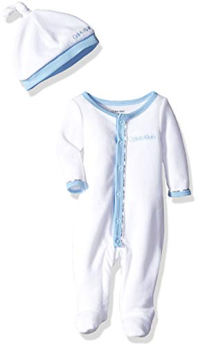 - Calvin Klein Baby Boys Gift, 2 Piece Velour Set - Blue Blee, White, 3-6 Months