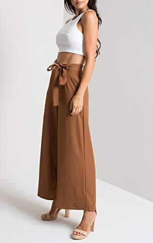 Simple Larga Pants Marrone Bende Unita Nove Tinta Pantalone Donna Moda Da Punti Gamba Baggy Casual Con Spiaggia Pantaloni fashion Giovane gqrnafFg