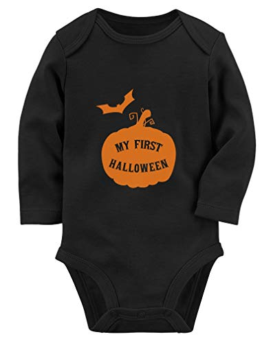 Tstars My First Halloween Baby Boy/Girl Cute 1st Halloween Baby Long Sleeve Bodysuit 6M Black
