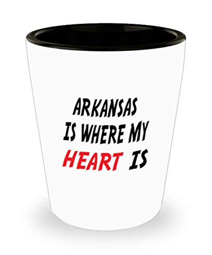 White Ceramic Shot Glass Mug Custom Arkansas Mug Going Away Gift State Mugs Moving Away State Gift Somebody My Heart Is,al0670 ()