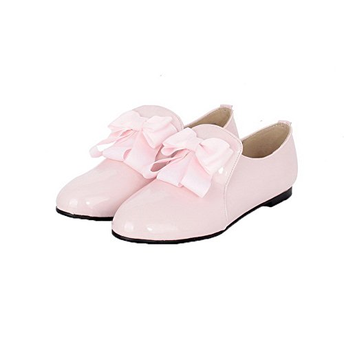 AllhqFashion Womens Patent Leather Pull-On No-Heel Solid Pumps-Shoes Pink EfcnJO