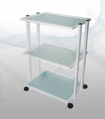 Facial Beauty Trolley Solid Metal with 3 Mat Glass Shelves